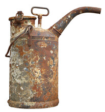 Old  Rusty Vintage Metal  Iron Tank With Pomp For Diesel Fuel Isolated