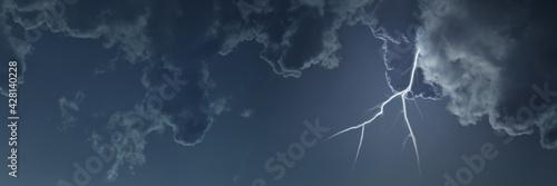 Fotografie, Obraz Blitz bei Unwetter mit Wolken am Himmel als Header