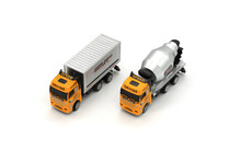 Cargo Delivery And Cement Mixer Toy Truck On White Background.