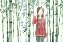 Watercolor Red Crying Woman Among Bamboo Forest Background.