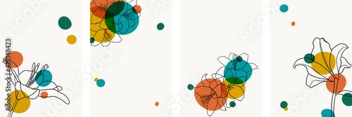 Fototapeta Set of creative minimalist hand draw illustrations floral outline lily bright circle simple shape vintage color