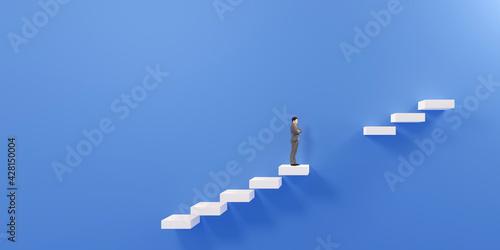 Fotografia, Obraz 途切れた階段の途中で佇むビジネスマンの3Dレンダリンググラフィックス / ビジネスの難題・予期せぬ障害・解決不能のコンセプトイメージ