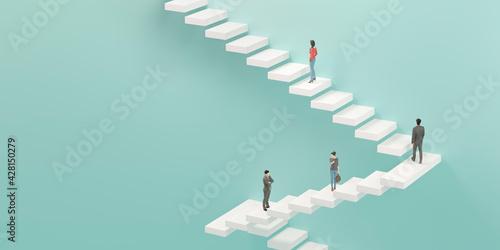 Obraz na plátne 階段を上るビジネスマンの3Dレンダリンググラフィックス / ステップアップ・上昇志向・継続的努力のコンセプトイメージ