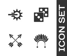 Set Indian Headdress With Feathers, Spur, Crossed Arrows And Game Dice Icon. Vector