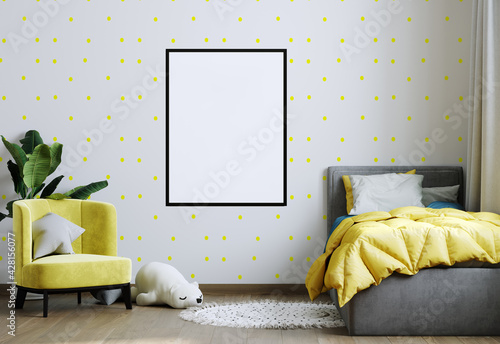 Obraz Frame mockup in yellow child room interior. Nursery Interior in scandinavian style. 3d rendering - fototapety do salonu