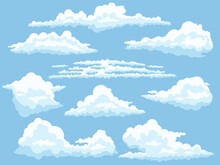 Cartoon Clouds. White Cloud On Blue Sky Isolated Vector Illustration Set