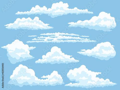 Obraz Cartoon clouds. White cloud on blue sky isolated vector illustration set - fototapety do salonu