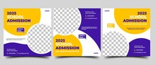 School Admission Social Media Post Template Collection. Modern Banner Template With A Purple And Yellow Background Color. Usable For Social Media, Flyers, Banners, And Website.