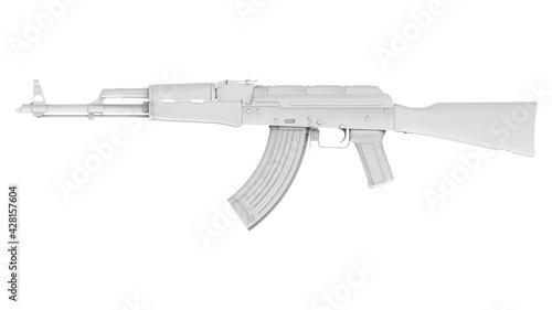 Billede på lærred Grey AK-47 assault rifle isolated on white background
