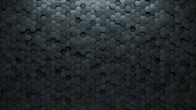 Polished, Concrete Wall Background With Tiles. Futuristic, Tile Wallpaper With 3D, Hexagonal Blocks. 3D Render