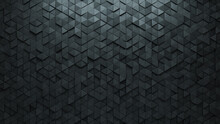 Futuristic, Concrete Wall Background With Tiles. Polished, Tile Wallpaper With 3D, Triangular Blocks. 3D Render