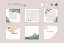 Abstract Instagram Social Media Story Post Feed Background Layout, Web Banner Template. Pink Nude Green Watercolor Vector Texture Frame Mockup. For Beauty, Jewelry, Fashion, Cosmetics, Wedding, Summer