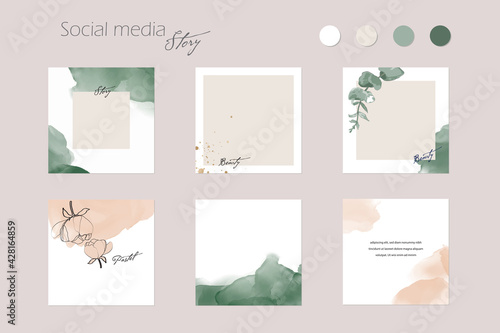 Obraz abstract Instagram social media story post feed background layout, web banner template. pink nude green watercolor vector texture frame mockup. for beauty, jewelry, fashion, cosmetics, wedding, summer - fototapety do salonu