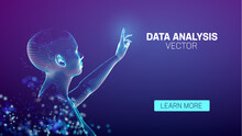 Data Analysis AI Assistant. AI Big Data Technology. Security Vr Girl Assistant. Artificial Intelligence Futuristic Human
