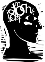 Woodcut Expressionist Style Image Of A Man With Letters Jumbled In His Head. Dyslexia Idea.