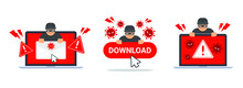 Collection Of Computer Virus Detection Icons. System Error Warning On A Laptop. Emergency Alert Of Threat By Malware, Virus, Trojan, Phishing, Or Hacker. Creative Antivirus Concept. Vector Flat Style.