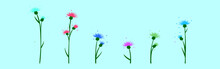 Set Of Thistle Cartoon Icon Design Template With Various Models. Vector Illustration Isolated On Blue Background