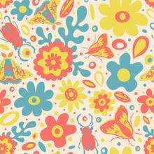 Cute Spring 60s Style Pattern With Graphic Flowers, Leaves And Insects On Light Peachy Background.Funky And Bright Floral Print, Beetle, Moths, Retro Style, Cottagecore. Garden, Summer Party, For Kids
