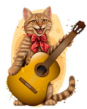 Cat. Wall Sticker. Color, Graphic Portrait Of Cute Kitten With A Guitar On A White Background In Watercolor Style. Digital Vector Graphics.  Individual Layers