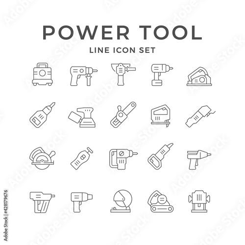 Obraz Set line icons of power tool - fototapety do salonu