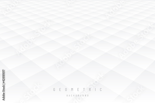 Fotografiet Gray and white subtle lattice pattern perspective abstract background