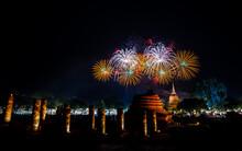 Firework Of Loy Krathong Festival Showing In Sukhothai Historical Park. Sukhothai, Thailand.