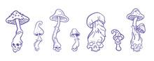 Skulls Mushrooms Vector Outline Illustration For Halloween Magic Concept For Esoteric Design