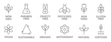 Natural And Organic Cosmetic Line Icons. Allergen Free Badges. Non Toxic Logo. Skincare Symbol. Beauty Product. Gluten And Paraben Free Cosmetic. Eco, Vegan Label. Sensitive Skin. Vector Illustration