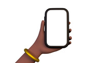 3D Woman Hand Holding Smartphone, Cellphone Mockup Isolated On White Background, Front View. Minimal Device Template, Touchscreen Illustration, Render. Afro-American Woman, Gold Bracelet.
