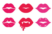 Lipstick Kiss Collection. Isolated Vector Clipart.