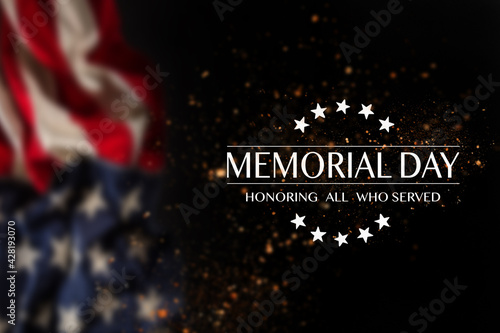 American flag with the text Memorial day. #428193070