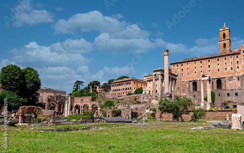 Fotografie, Obraz Rome Italy, panoramic view of the roman forum under impressive sky