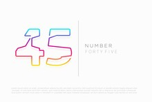 Number 45 Forty Five Logo Icon Design, Vector Template