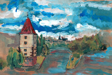 View Of The Vltava In Prague, Gouache Painting.