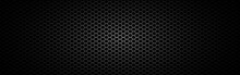 Metal Mesh Wide. Black Steel Texture. Futuristic Carbon Design With Light. Sheet Metal Effect. Perforated Plate. Dark Material With Round Cells. Vector Illustration