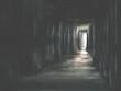 Leinwandbild Motiv Illustration of creepy dark scary door
