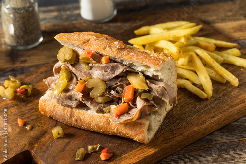 Homemade Chicago Italian Beef Sandwich