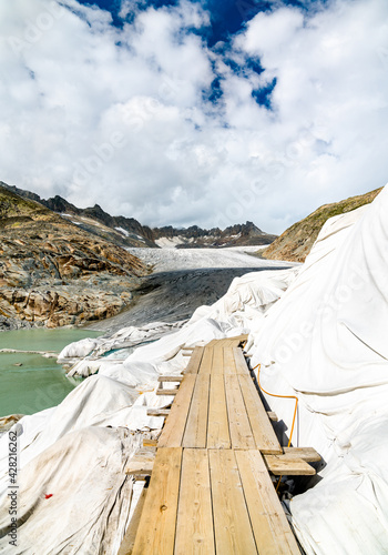 The Rhone Glacier, the source of the Rhone at Furka Pass in Switzerland