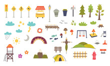 Set Of Decorative Elements For Children's Map. Nursery Design For The Map Creator. Vector Illustration