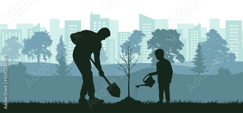 Fotografie, Obraz Landscaping of territory, man and child planting tree in city park, silhouette