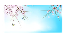 Blooming Branches Of A Fruit Tree (sakura, Cherry, Apricot) And Cheerful Flying Tit Birds Against The Background Of The Spring Blue Sky. Vector Drawing For Design Of Cards, Banners, Other.