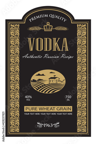 Canvas Print template vodka label with royal crown, field and ears of wheat in retro style