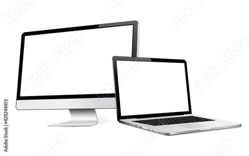 Obraz Computer display with laptop mock up - fototapety do salonu