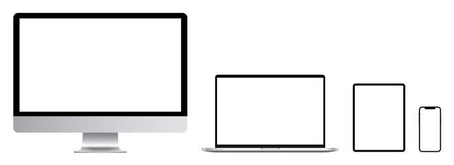 Set of computer, laptop, tablet and phone in a flat vector style. Device screen mockup. Smartphone, tablet, laptop and monoblock monitor, with blank screen for you design. Vector illustration.