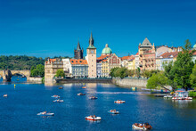 PRAGUE, CZECH REPUBLIC, 31 JULY 2020: Beautiful Cityscape Over The Vltava River