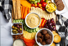 Bright And Colorful Charcuterie Board Platter And Vegan Appetizer Table