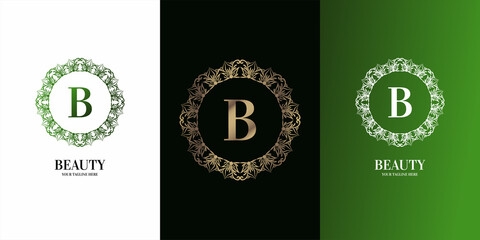 Letter B initial alphabet with luxury ornament floral frame logo template.
