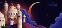 Ramadan Kareem Prayer Mosque Night Hand Drawn Style Banner