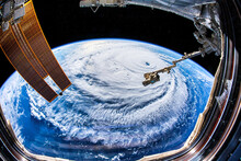 A Huge Hurricane Is Seen From The International Space Station. Digital Enhancement By The Artist. Elements Of This Image Furnished By NASA