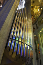 Vertical Shot Of A Pipe Organ On The Concert Hall